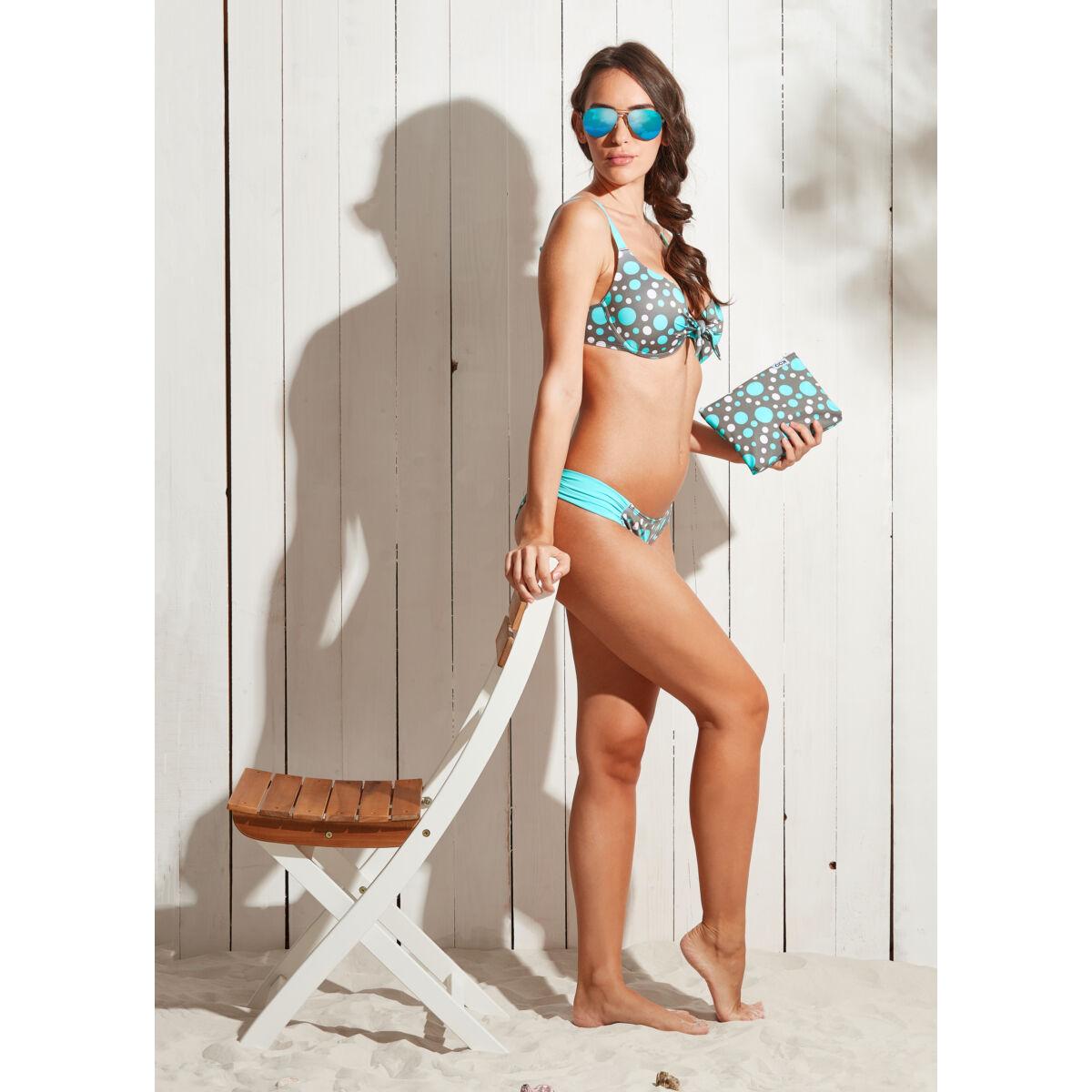 Szürke-menta-fehér pöttyös D kosaras melltartó fazonú bikini