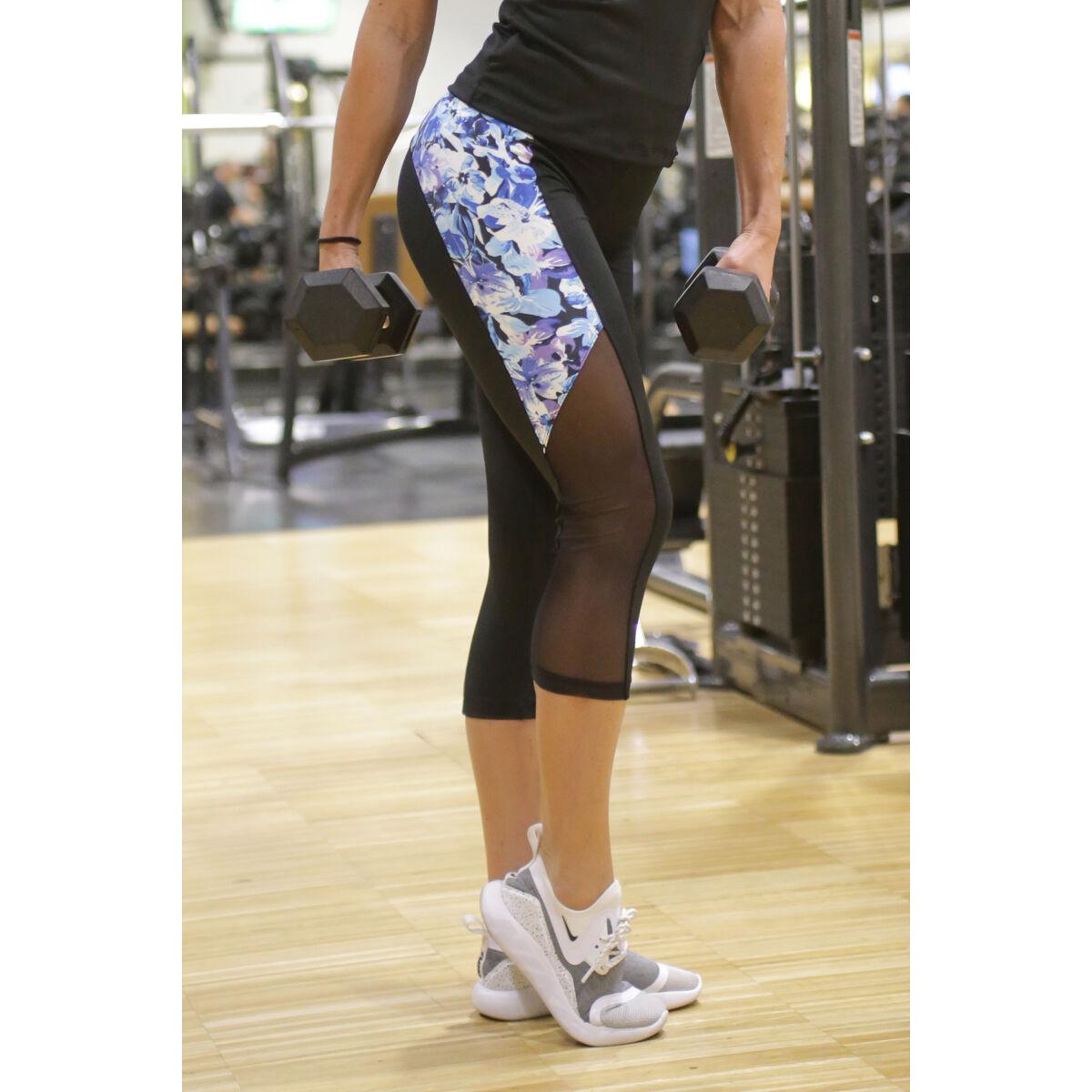 Kék virágos tüll betétes hullám női fitness capri nadrág - CCK - COCKTAIL SPORT