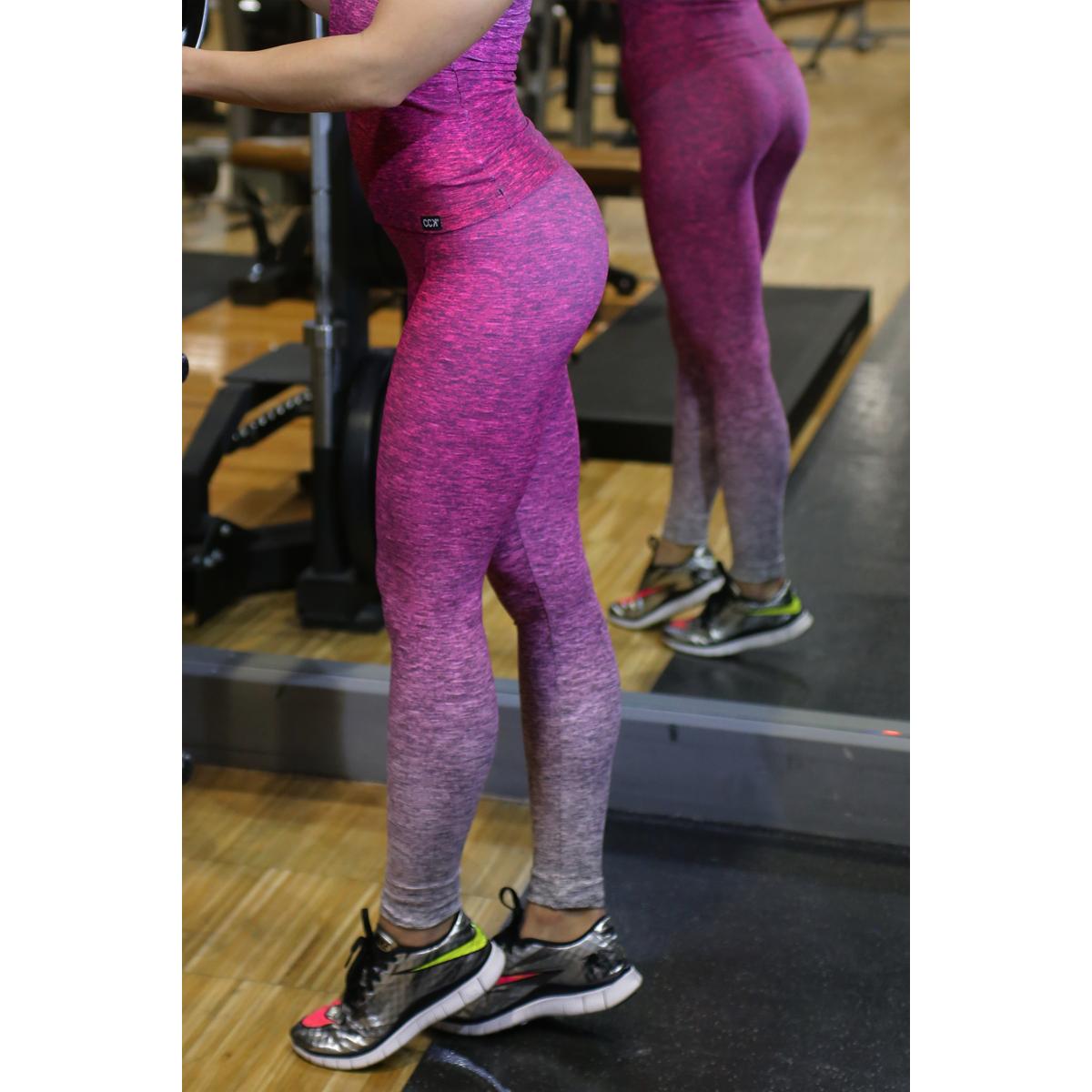 Melange magenta női fitnesz boka nadrág