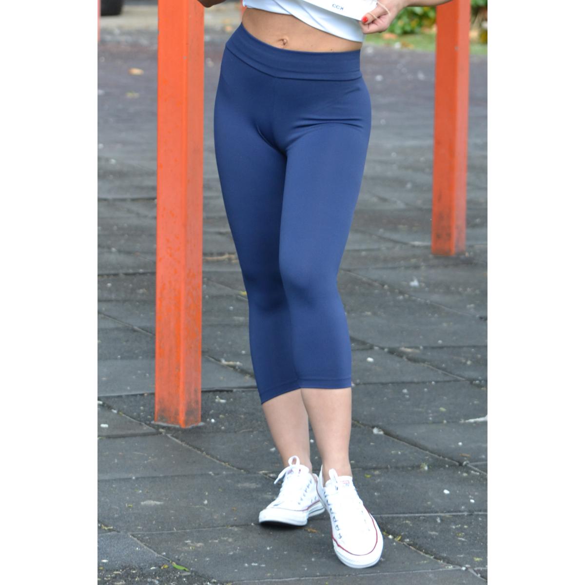 Sötétkék basic női fitness sport capri nadrág