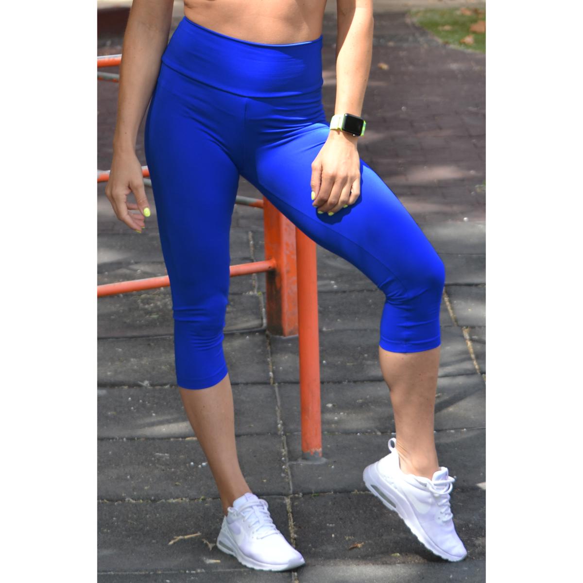 Királykék basic magasderekú női fitness sport caprinadrág