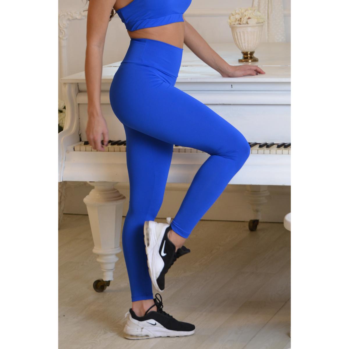 Királykék basic magasderekú női fitness sport leggings