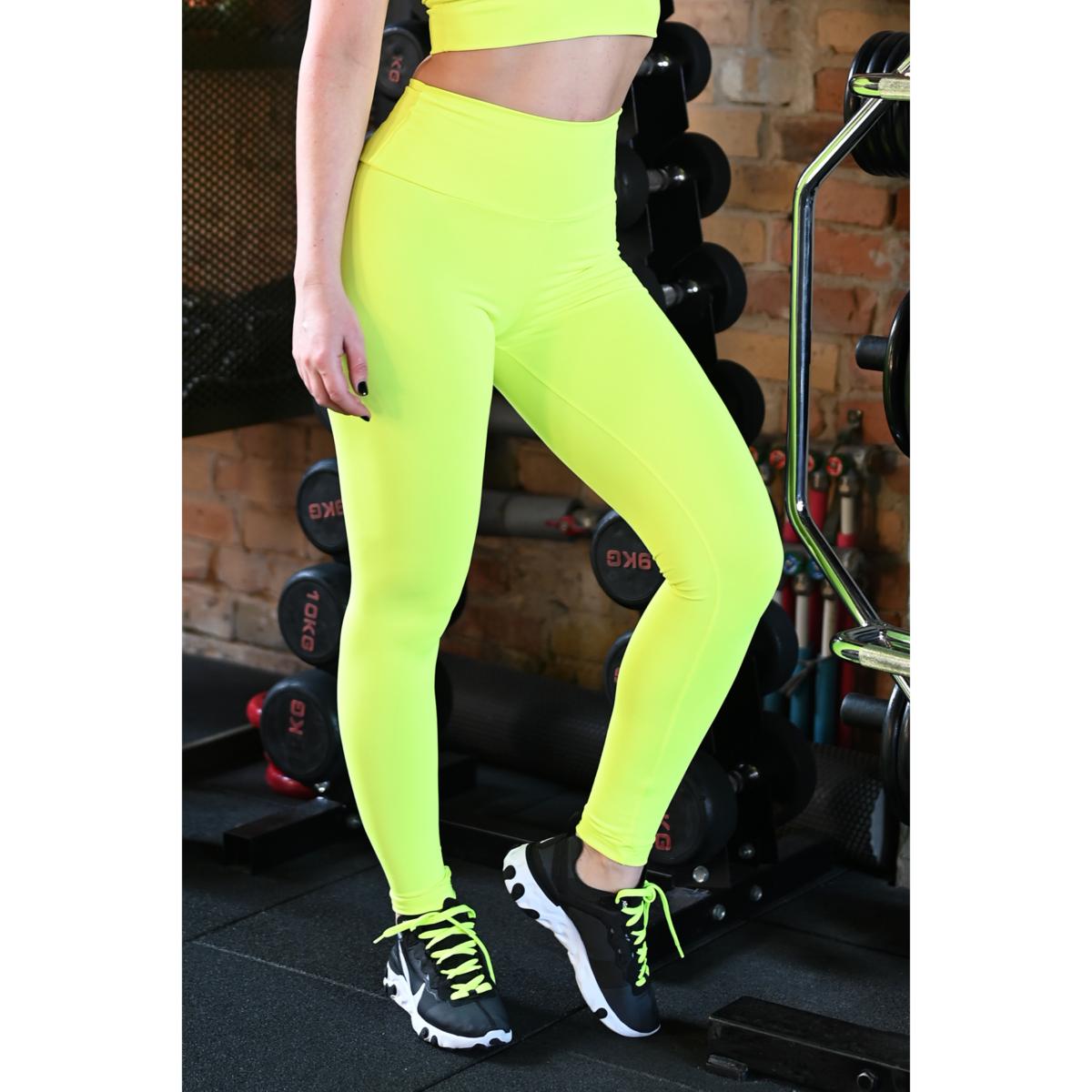 Neon sárga basic magasderekú női fitness sport leggings