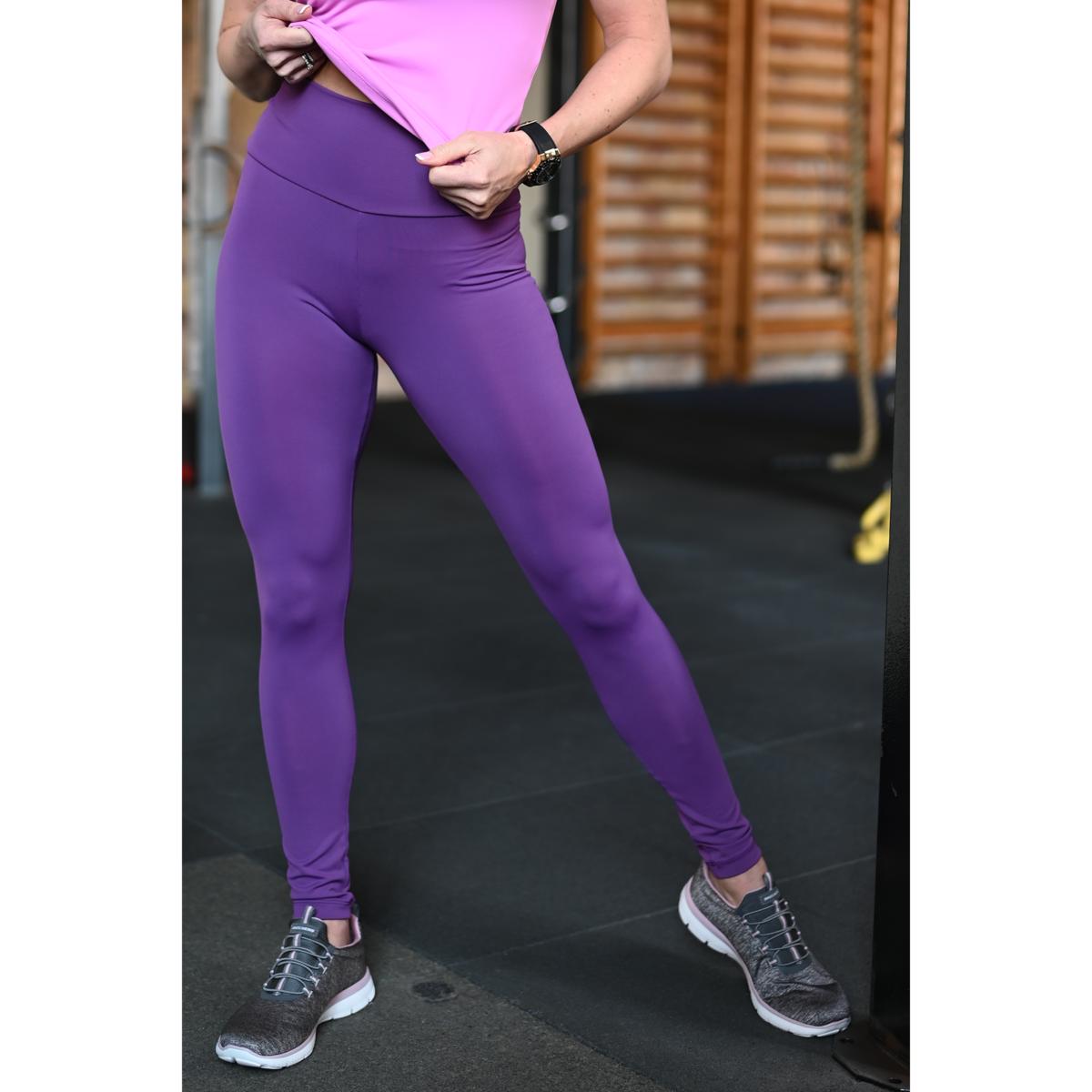 Padlizsán lila basic magasderekú női fitness sport leggings