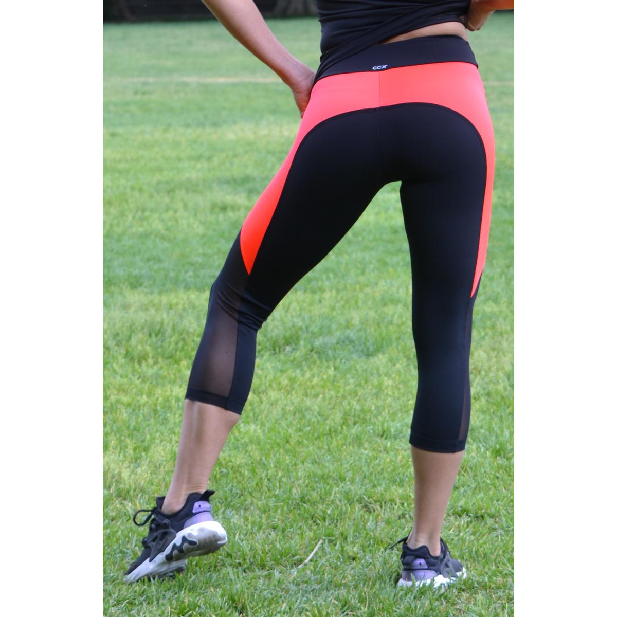 Fekete-korallpiros tüll betétes női fitness capri - CCK - COCKTAIL SPORT