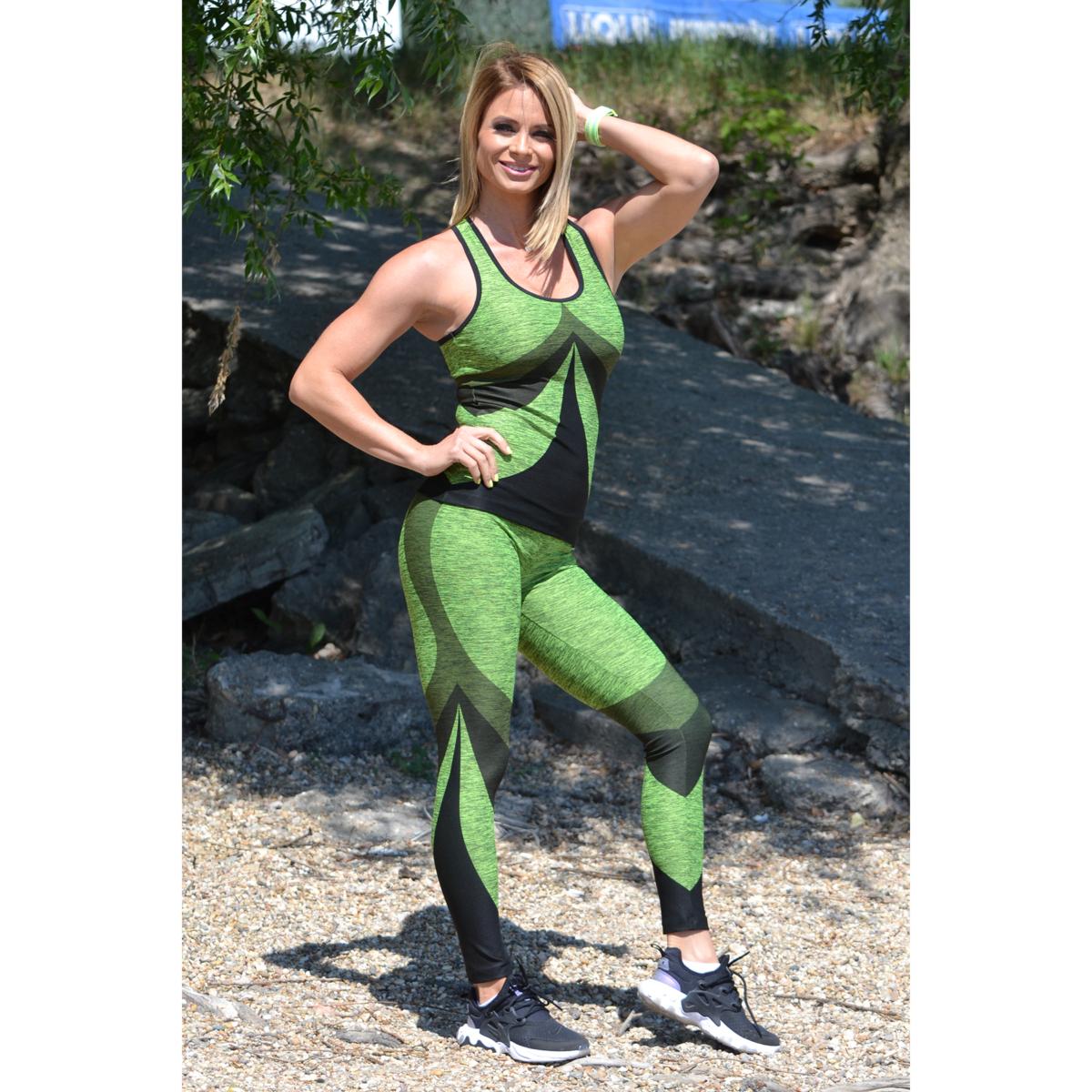 Melange neonzöld íves leggings + íves atléta szett