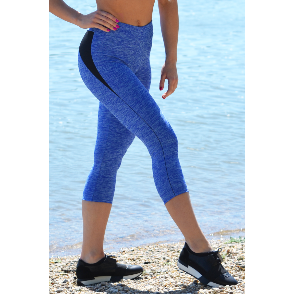 Melange kék női fitnesz capri nadrág