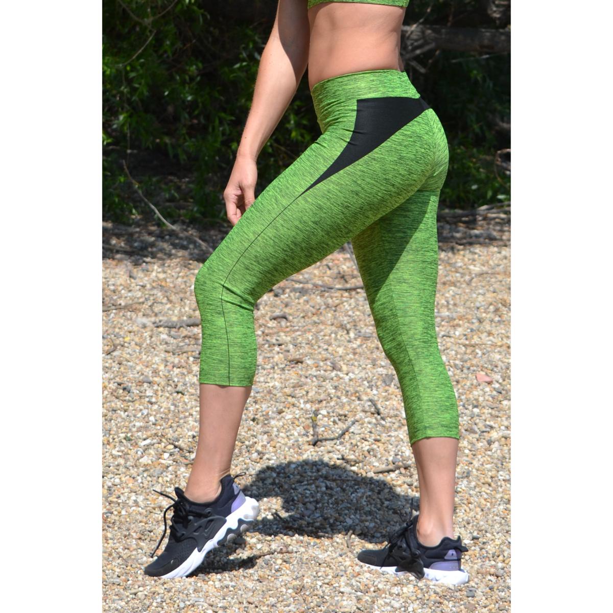 Melange neonzöld női fitnesz capri nadrág