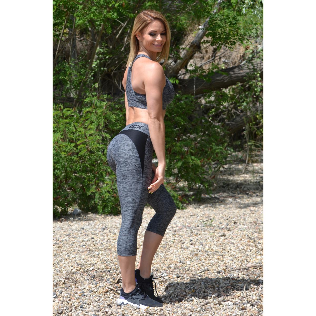 Melange fekete női fitnesz capri nadrág + sport top szett