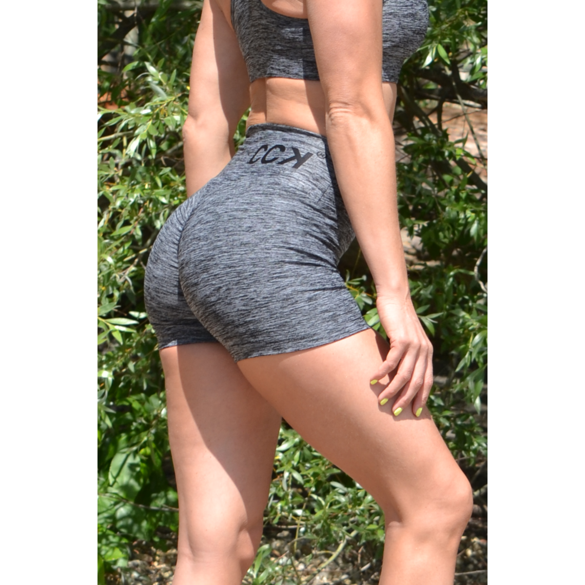 Melange fekete női fitnesz short nadrág