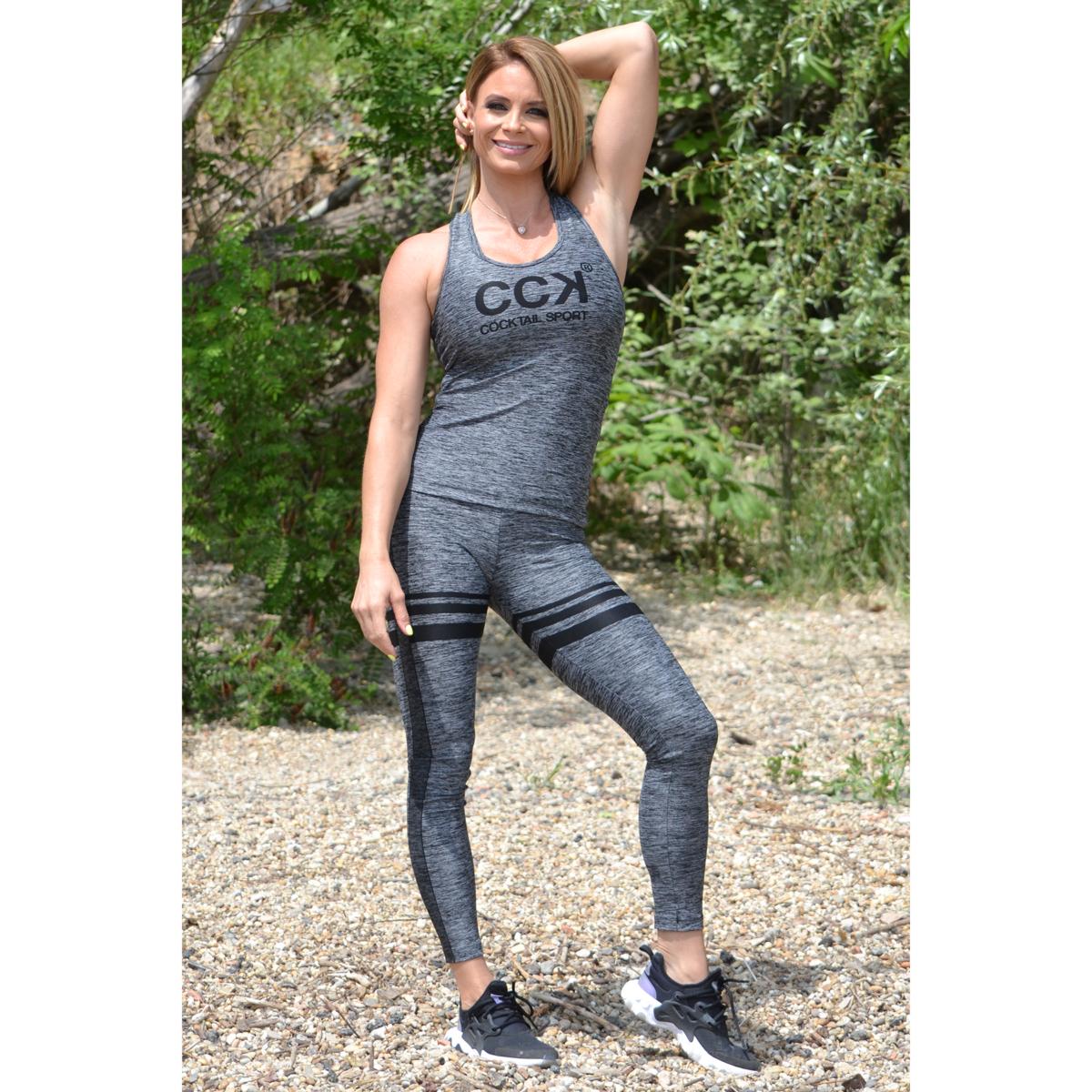 Melange fekete magas derekú csíkos leggings + logó atléta szett
