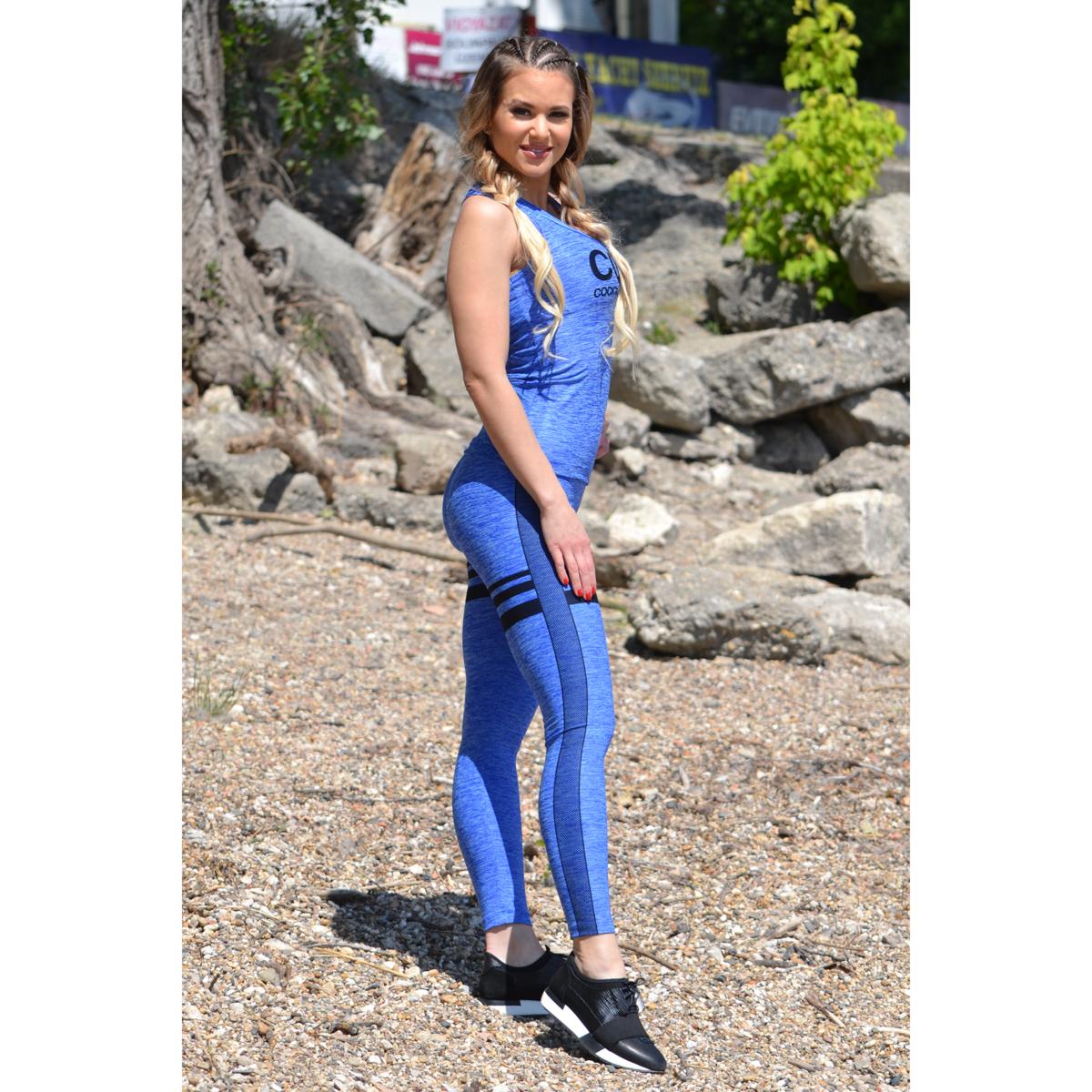 Melange kék magas derekú csíkos leggings + logó atléta szett