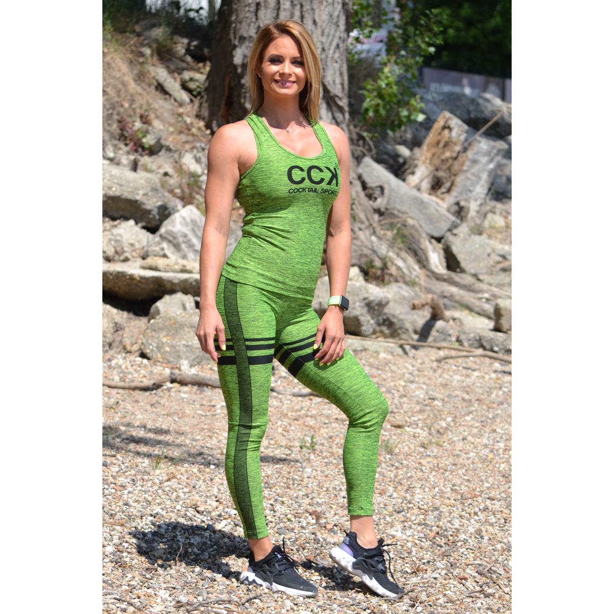 Melange neonzöld magas derekú csíkos leggings + logó atléta szett