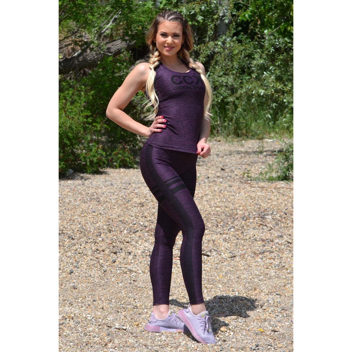 Melange padlizsán magas derekú csíkos leggings + logó atléta szett