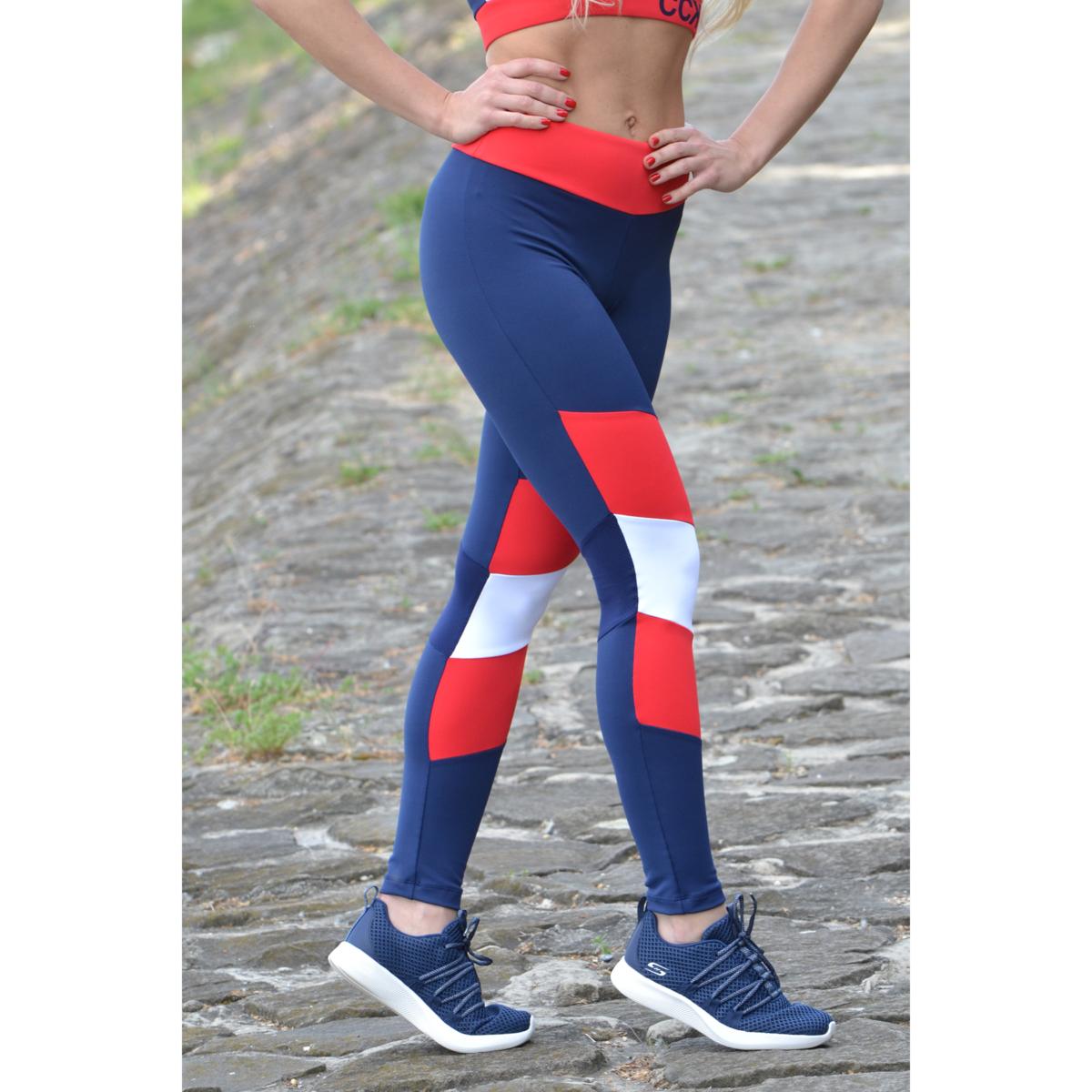 Sötétkék-piros-fehér mozaik leggings