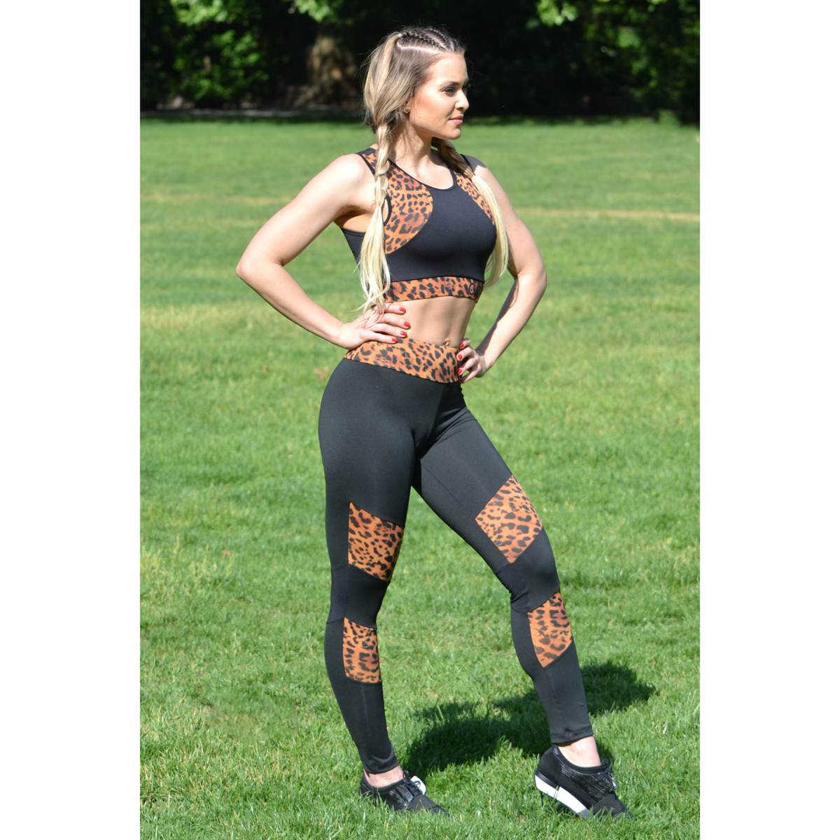 Fekete-gepárd mozaik leggings, top szett