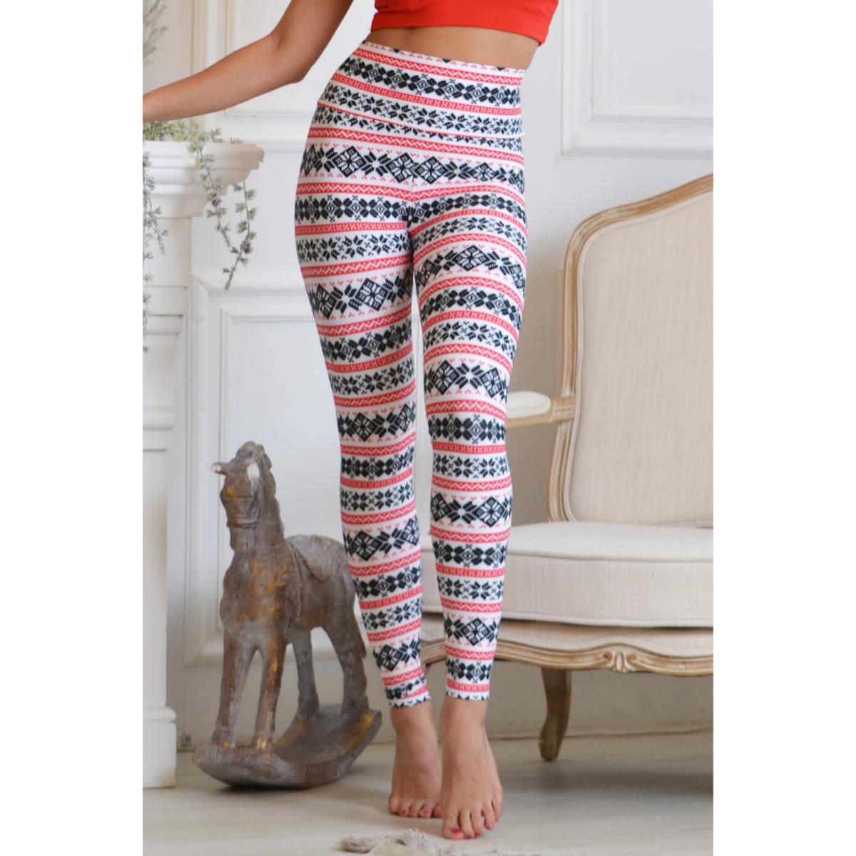 Skandináv mintás magasderekú fitness leggings, fehér piros fekete