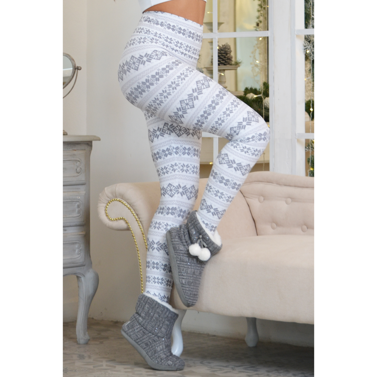 Skandináv mintás magasderekú fitness leggings, fehér szürke