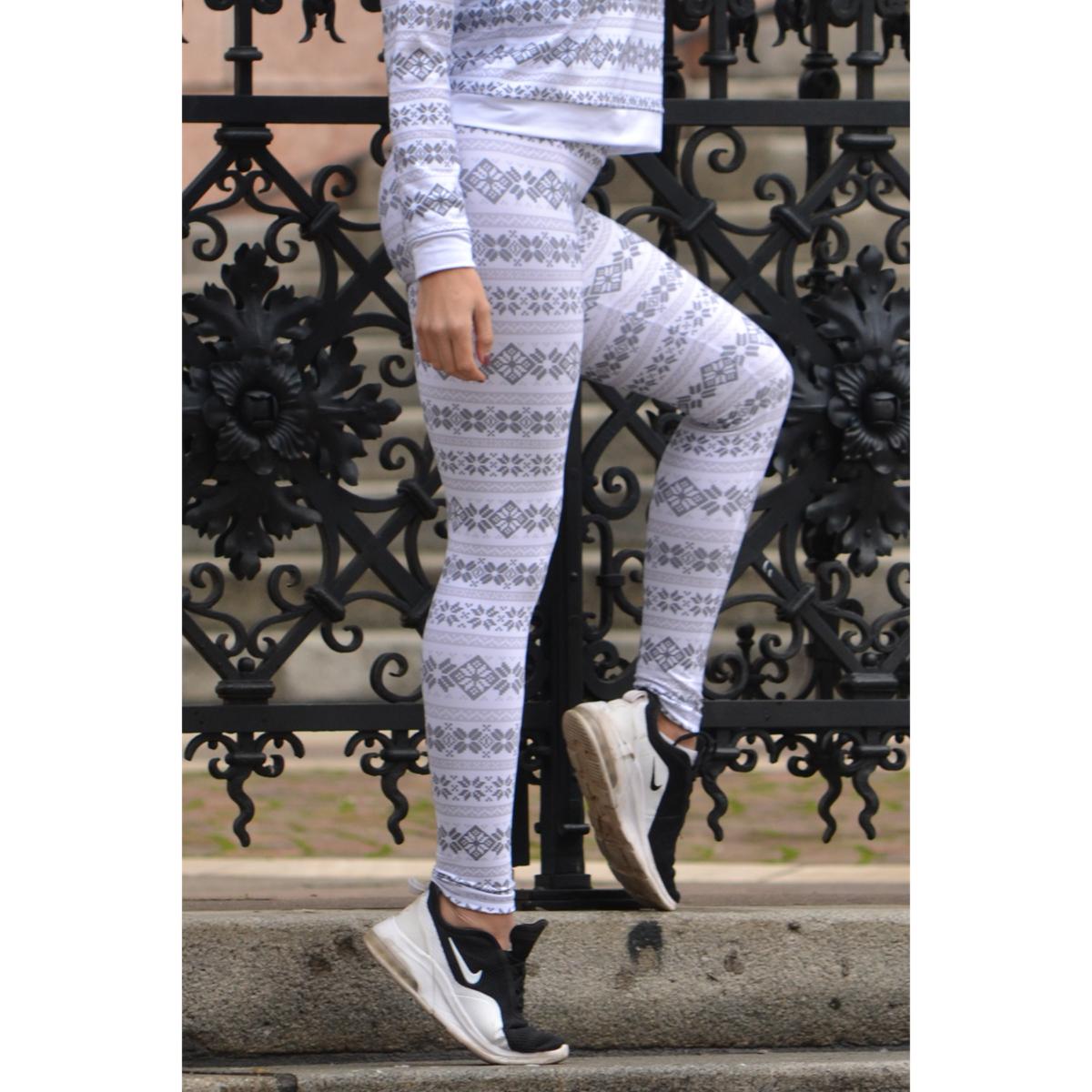 Skandináv mintás thermo leggings, fehér szürke