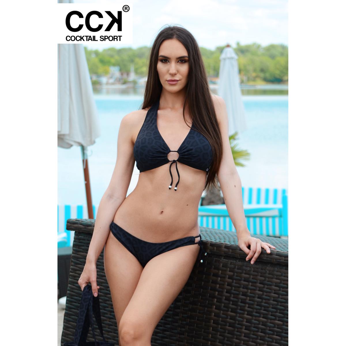 Fekete párduc mintás kivehető szivacsos D kosaras bikini