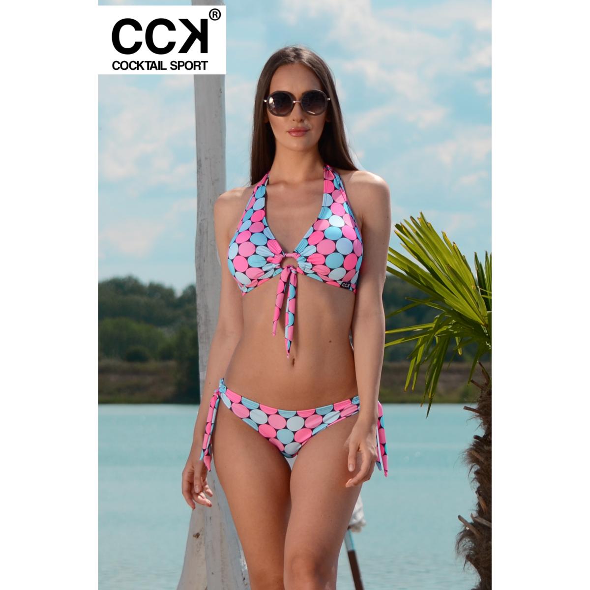 Rózsaszín-kék pöttyös kivehető szivacsos D kosaras bikini