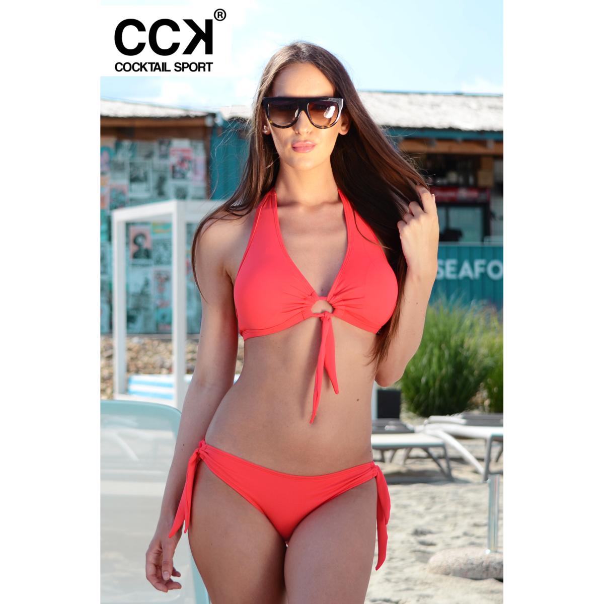 Korall piros basic kivehető szivacsos D kosaras bikini