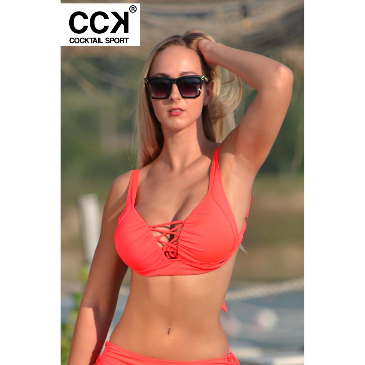 Korall piros (neon) basic, alul és oldalt széles pántos, állítható vállpántos, push up B formakosaras háromszög bikini felső