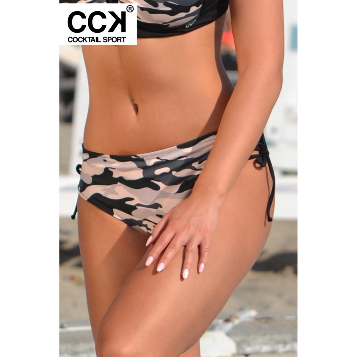 Terepmintás, oldalt fűzős, magasított fazonű bikini alsó.