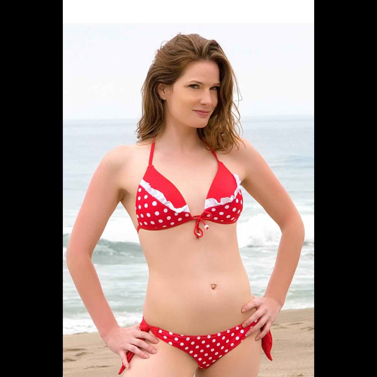 Szexi fodros háromszög bikini, fodros brazil tanga