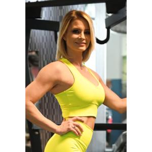 Fitnesz crop trikó, neon sárga