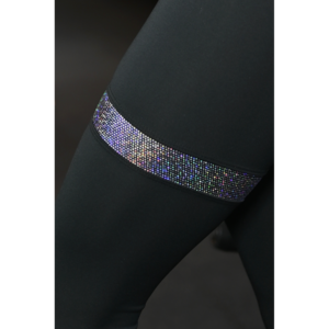 Fekete hologram combfix betétes, magasderekú női fitness sport leggings