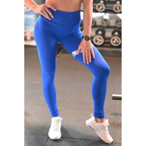 Királykék hologram combfix betétes, magasderekú női fitness sport leggings