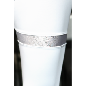 Fehér hologram combfix betétes, magasderekú női fitness sport leggings