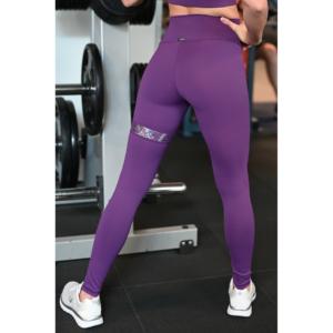 Padlizsán lila hologram combfix betétes, magasderekú női fitness sport leggings