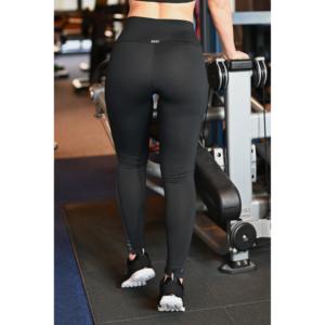 Fekete hologram oldal betétes, magasderekú női fitness sport leggings