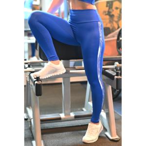 Királykék hologram oldal betétes, magasderekú női fitness sport leggings