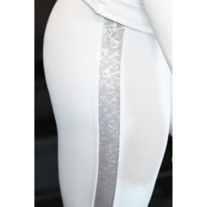 Fehér hologram oldal betétes, magasderekú női fitness sport leggings