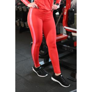 Piros hologram oldal betétes, magasderekú női fitness sport leggings