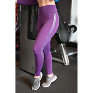 Padlizsán lila hologram oldal betétes, magasderekú női fitness sport leggings