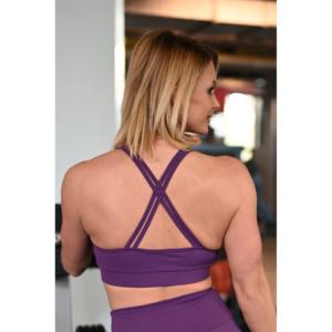 Padlizsán lila hologram betétes dupla keresztpántos sport top