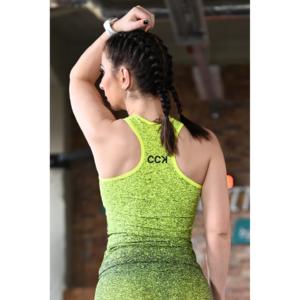 Melange neon sárga-fekete női fitnesz atléta