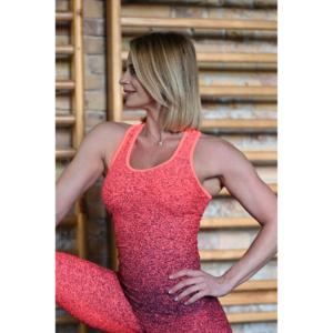 Melange neon korall-fekete női fitnesz atléta