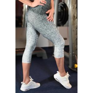 Melange fekete-fehér női fitnesz capri nadrág