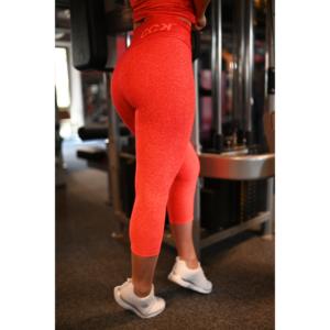 Melange korall-piros női fitnesz capri nadrág