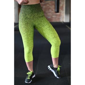 Melange neon sárga-fekete női fitnesz capri nadrág