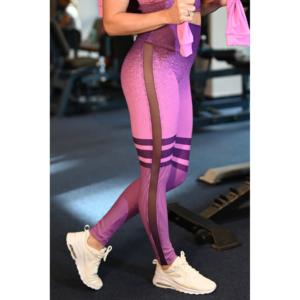 Melange lila tüll betétes női fitnesz boka nadrág