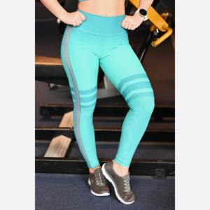 Melange menta tüll betétes női fitnesz boka nadrág