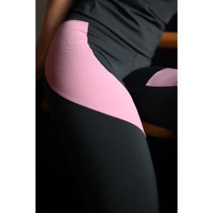 Szürke-rózsaszín bordás ívelt leggings