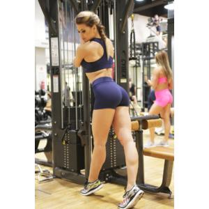 Sötétkék basic női fitness sport short + top szett