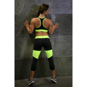 Fekete-neonzöld basic női fitness capri nadrág